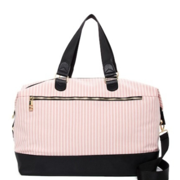 ebe782d55f29 Madden Girl Blush Striped Weekender Duffle Bag